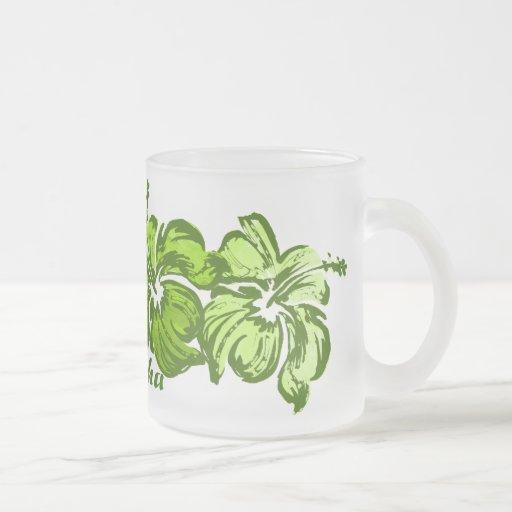 Taza del hibisco de la acuarela