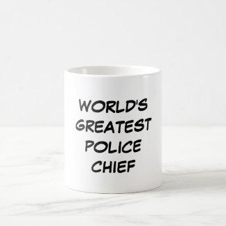 """""""Taza del jefe de la policía más grande del mundo"""" Taza Básica Blanca"""