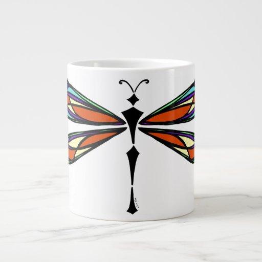 Taza del jumbo de la libélula del vitral taza grande