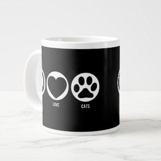 Taza del jumbo de los gatos del amor de la paz taza grande