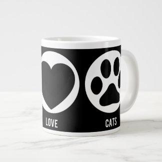 Taza del jumbo de los gatos del amor de la paz taza extra grande
