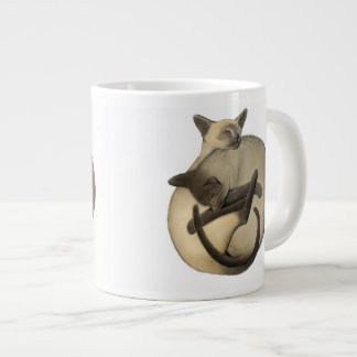 Taza del jumbo de los gatos siameses de Yin Yang Taza Grande