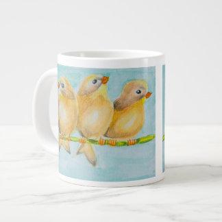 Taza del jumbo de los pájaros del arte tres de taza grande