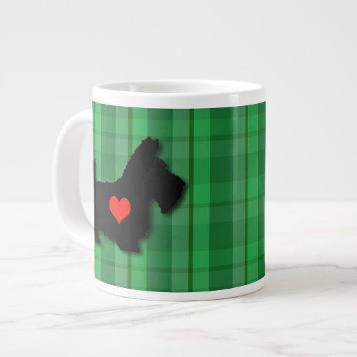 Taza del jumbo del amor del corazón del escocés