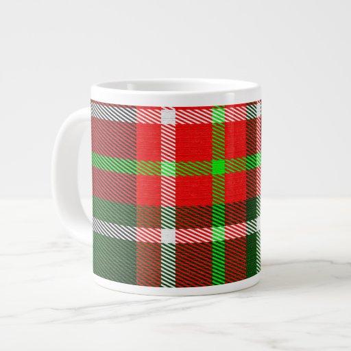 Taza del jumbo del tartán del navidad tazas extra grande
