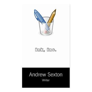 Taza del lápiz de la pluma del escritor tarjetas de visita