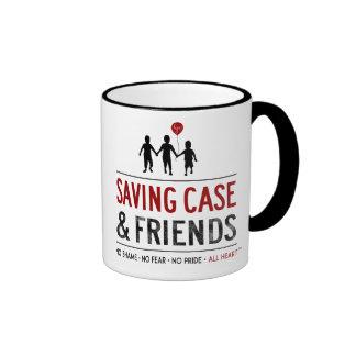 Taza del logotipo de ahorro del caso y de los