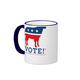 Taza del logotipo del fiesta de las ovejas del vot