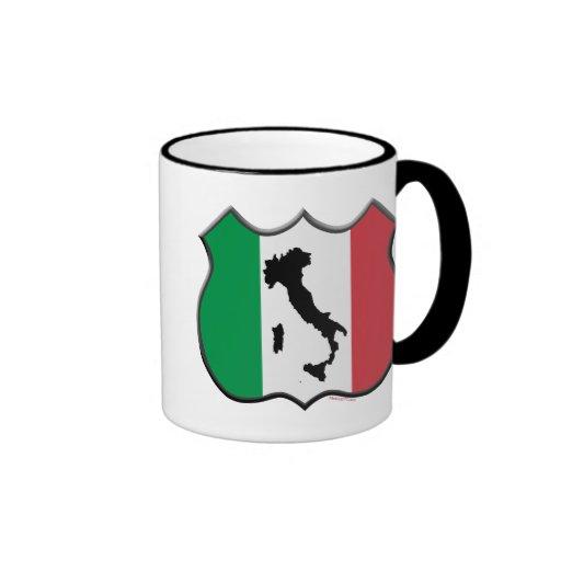 Taza del mapa del escudo de Italia