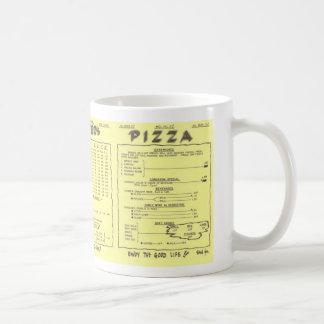 Taza del menú de la pizza del alfarero