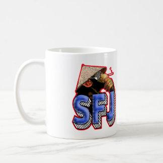 Taza del mono del podcast de SFJ