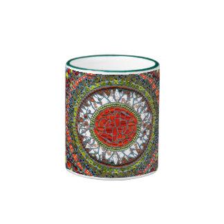 Taza del mosaico de la mandala (verde)