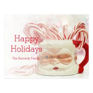 Taza del navidad con los bastones de caramelo tarjetas postales