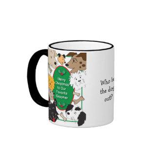 Taza del navidad del Groomer del perro