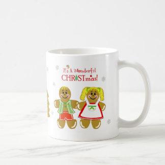 Taza del navidad del hombre de pan de jengibre y