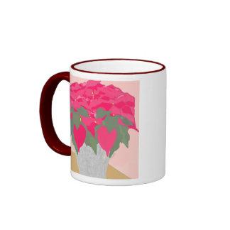 Taza del navidad del Poinsettia