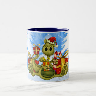 Taza del navidad - dragón lindo del navidad