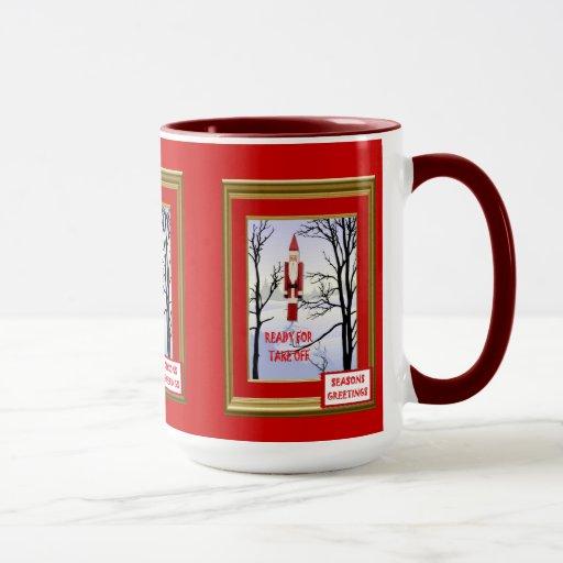Taza del navidad, Santa listo para el despegue