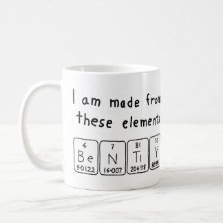 Taza del nombre de la tabla doblado periódica