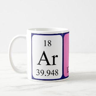 Taza del nombre de la tabla periódica de Arial