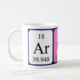 Taza del nombre de la tabla periódica de Aron