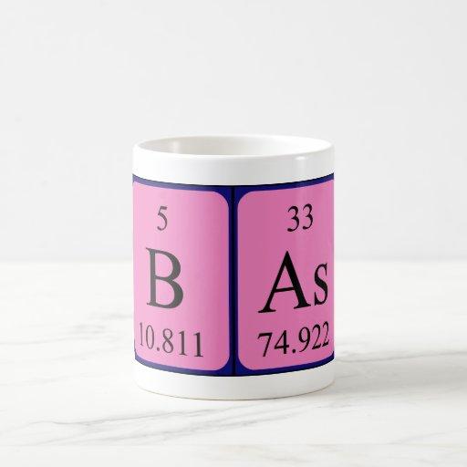 Taza del nombre de la tabla periódica de Bas