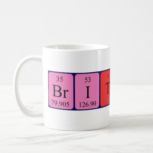 Taza del nombre de la tabla periódica de Bretaña