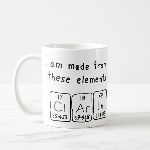 Taza del nombre de la tabla periódica de Clarin