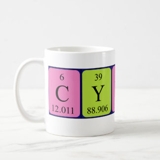 Taza del nombre de la tabla periódica de Cyndi
