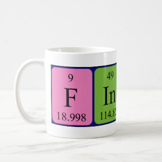 Taza del nombre de la tabla periódica de Finlay