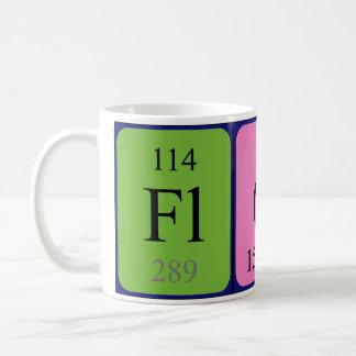 Taza del nombre de la tabla periódica de Flore