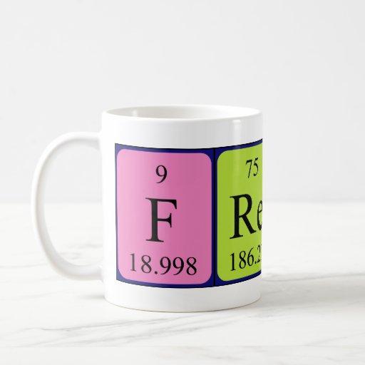 Taza del nombre de la tabla periódica de Freddy