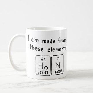 Taza del nombre de la tabla periódica de Hon