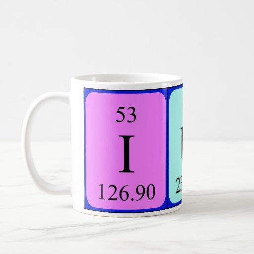 Taza del nombre de la tabla periódica de Iuna