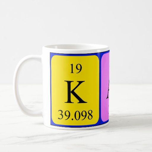 Taza del nombre de la tabla periódica de Katy