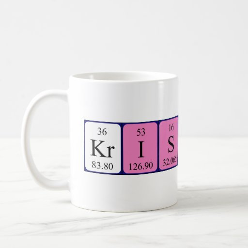 Taza del nombre de la tabla periódica de Kristoff