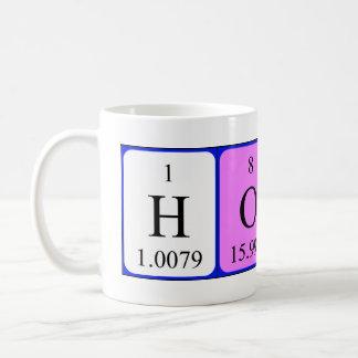 Taza del nombre de la tabla periódica de la miel
