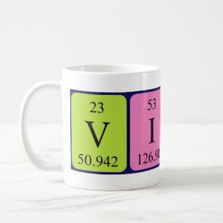 Taza del nombre de la tabla periódica de la viola
