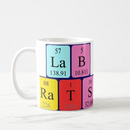 Taza del nombre de la tabla periódica de las ratas