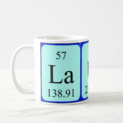 Taza del nombre de la tabla periódica de Laura