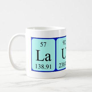 Taza del nombre de la tabla periódica de Lauren
