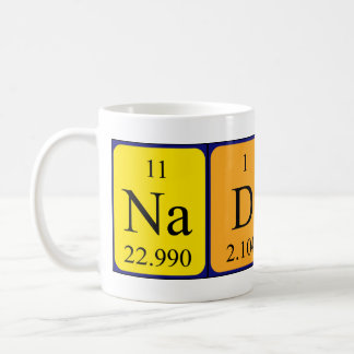 Taza del nombre de la tabla periódica de Nadin