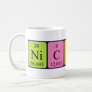 Taza del nombre de la tabla periódica de Nicklas