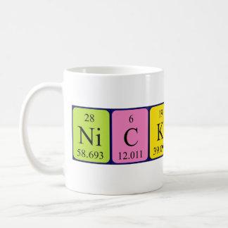 Taza del nombre de la tabla periódica de Nicklaus