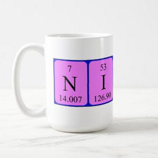 Taza del nombre de la tabla periódica de Nicky