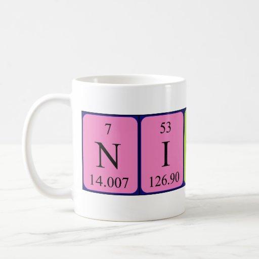 Taza del nombre de la tabla periódica de Nicolás