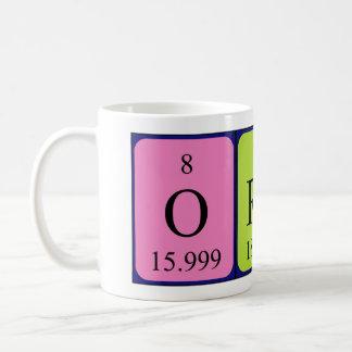 Taza del nombre de la tabla periódica de Oren