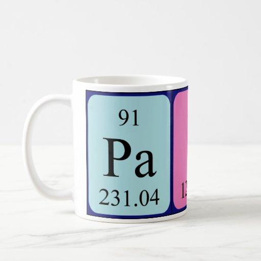 Taza del nombre de la tabla periódica de Paige