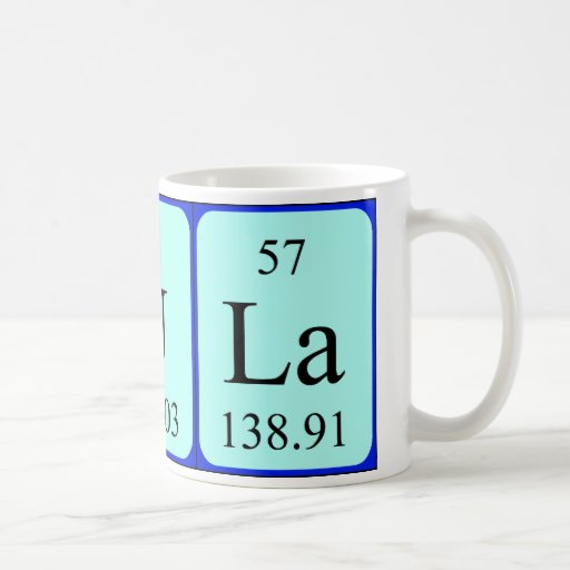 Taza del nombre de la tabla periódica de Paula