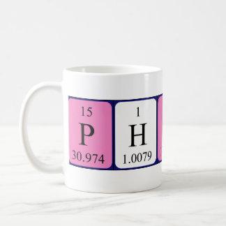 Taza del nombre de la tabla periódica de Philipa